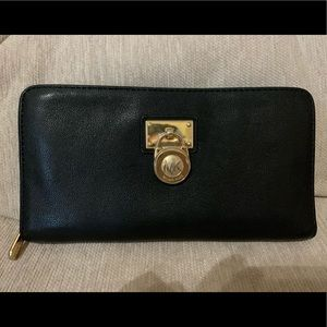 Michael lord leather flat wallet black